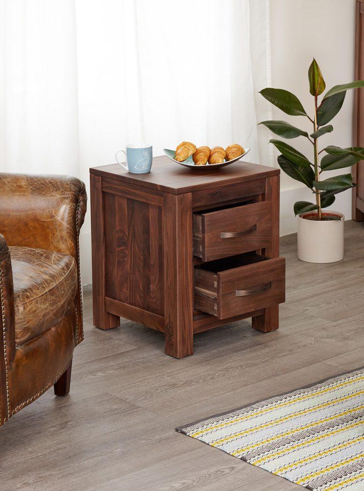 Mayan Walnut Two Drawer Lamp Table