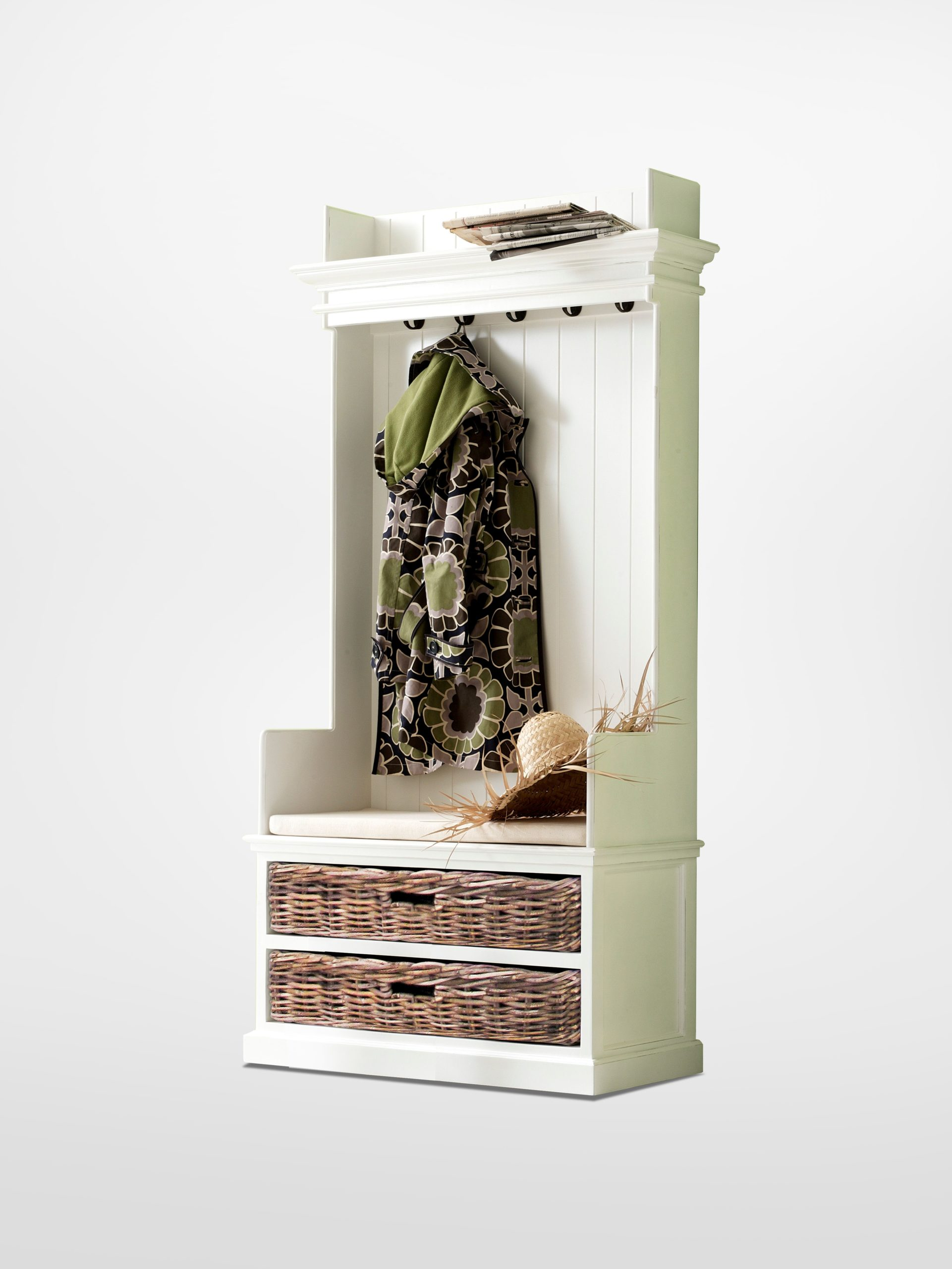 Entryway Coat Rack&Bench Unit w/ cushion+basketset