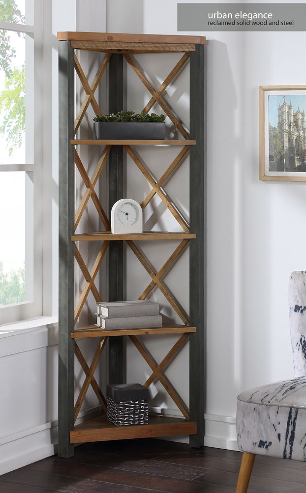 Urban Elegance – Reclaimed Large Corner Bookcase