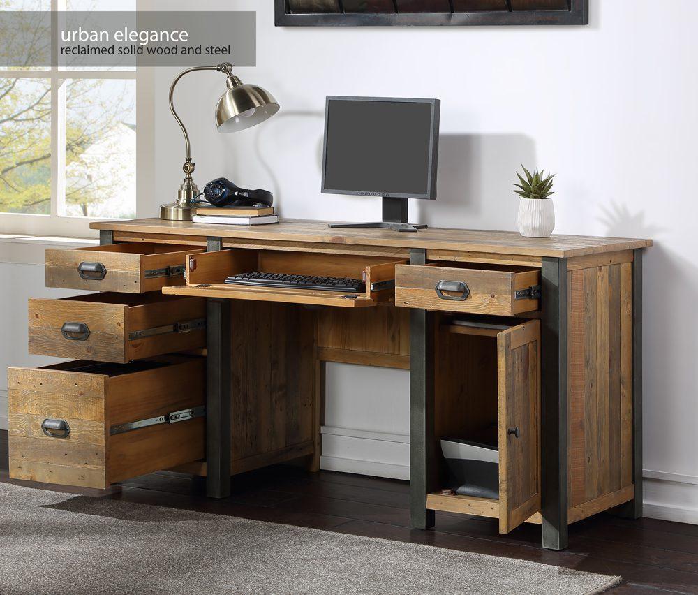 Urban Elegance – Reclaimed Twin Pedestal Home Office Desk