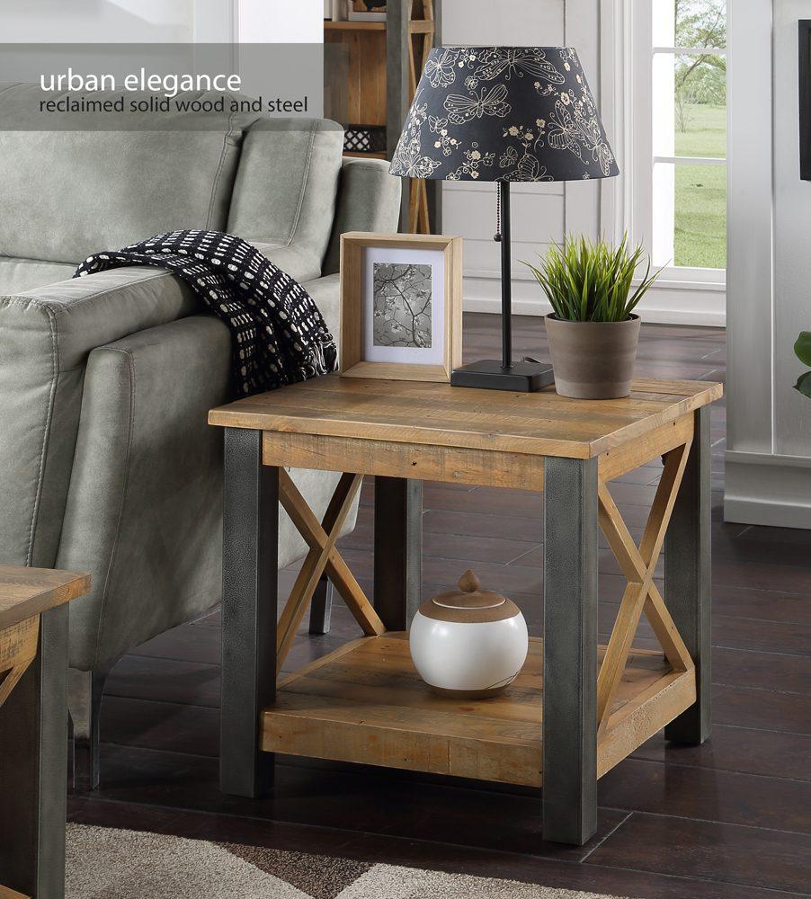 Urban Elegance – Reclaimed Lamp Table