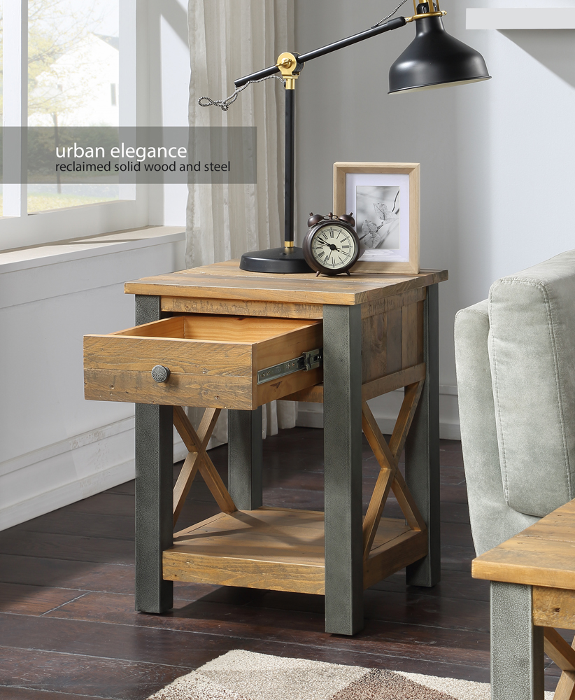 Urban Elegance – Reclaimed Lamp Table With Drawer