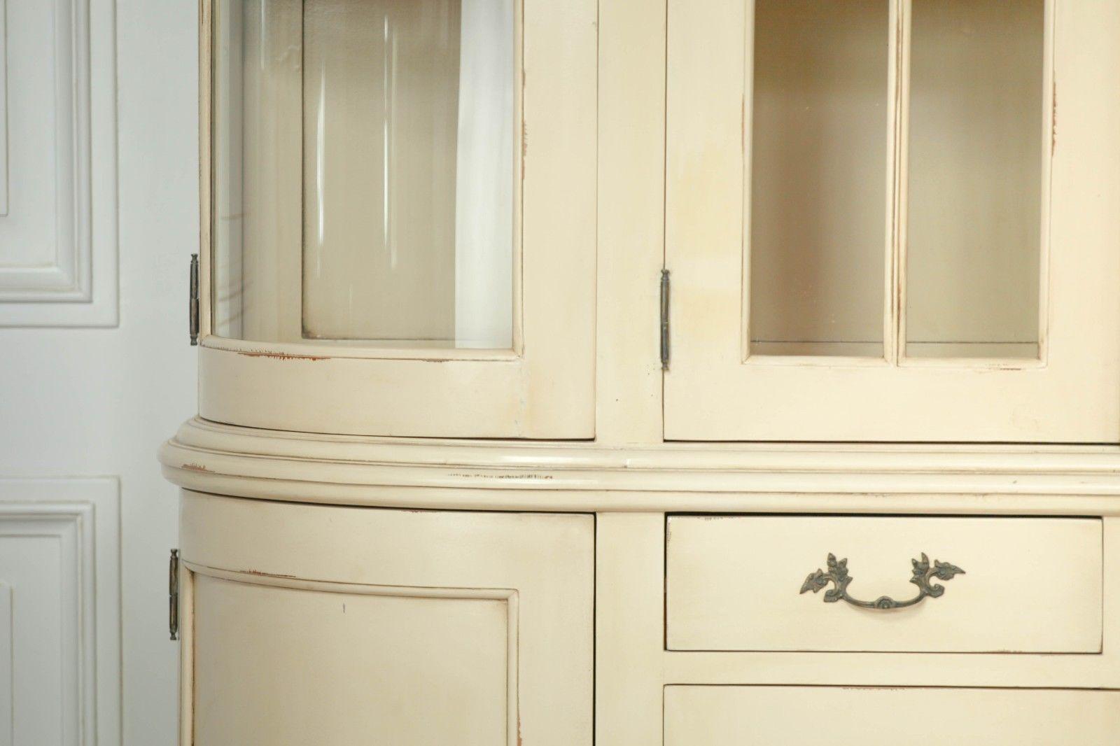 Large Vintage Cream Dresser Display Cabinet