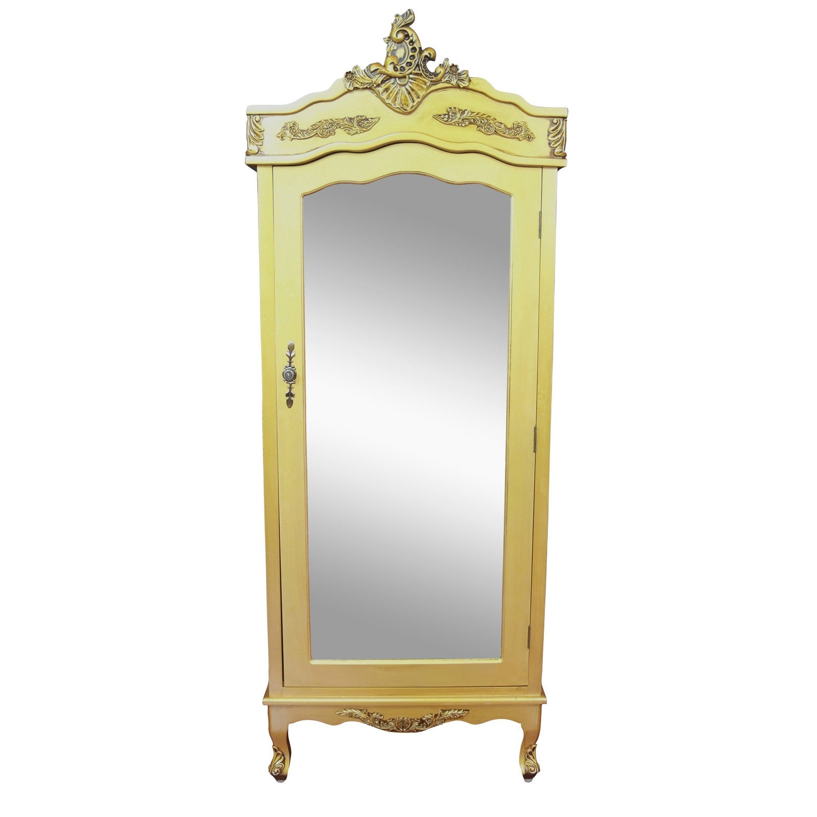 French Antique Gold Single Door Armoire with Mirrored Door