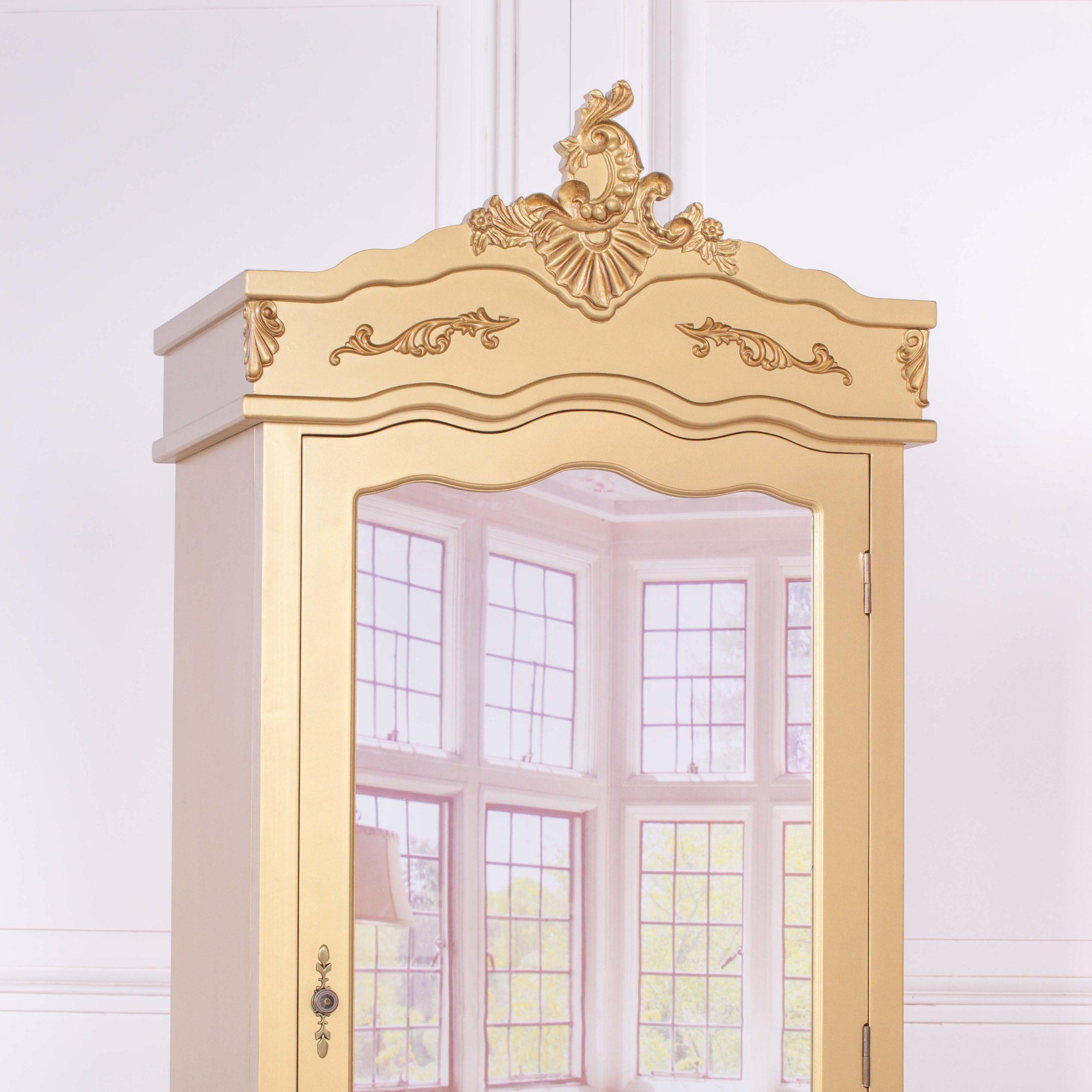 French Antique Gold Single Door Armoire with Mirrored Door