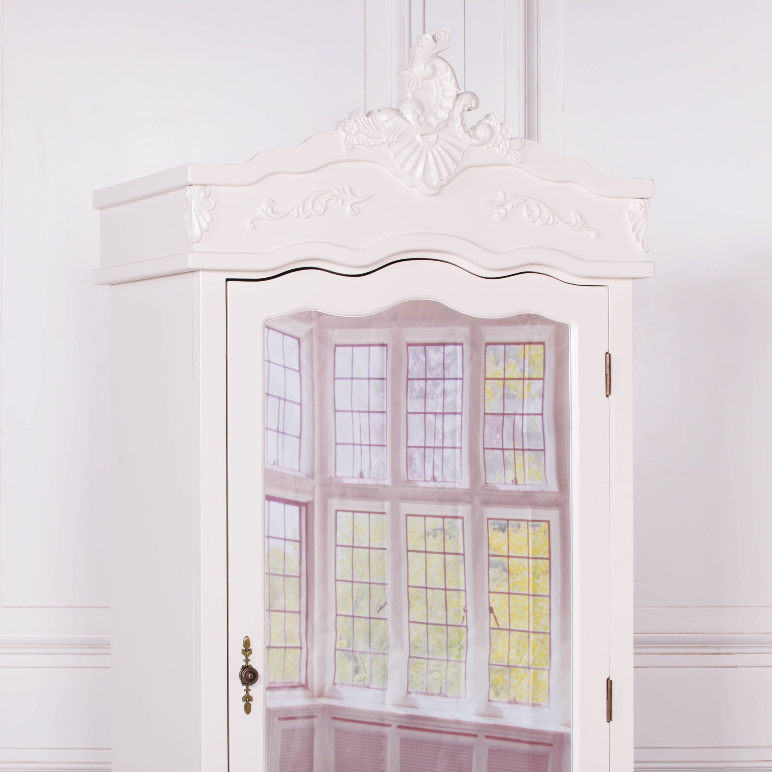 French Cream Single Door Armoire with Mirrored Door
