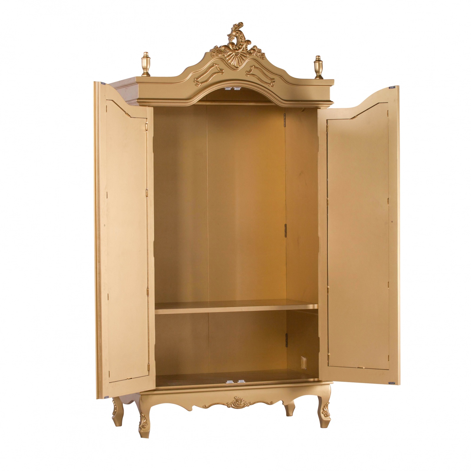 French Antique Gold Double Full Mirrored Armoire