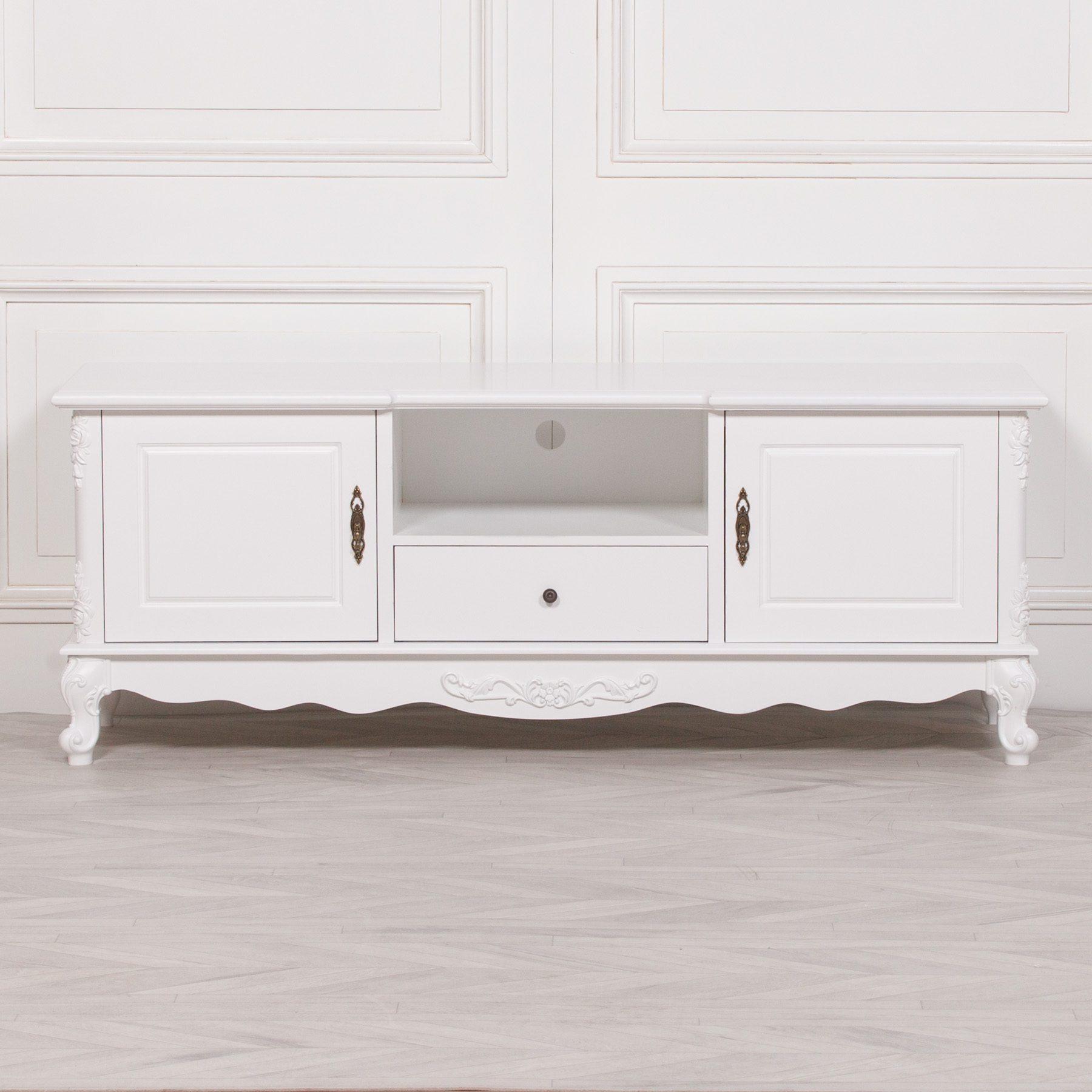 French White Large Cabinet TV Unit