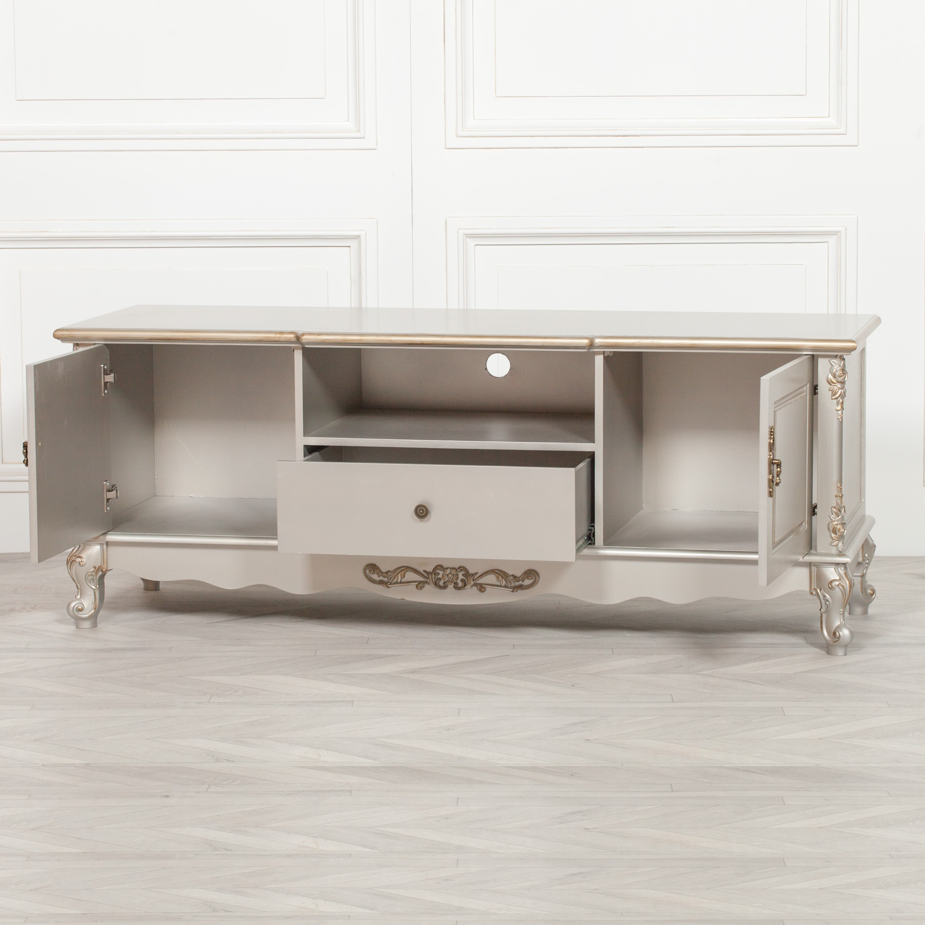 French Antique Silver Large Cabinet TV Unit