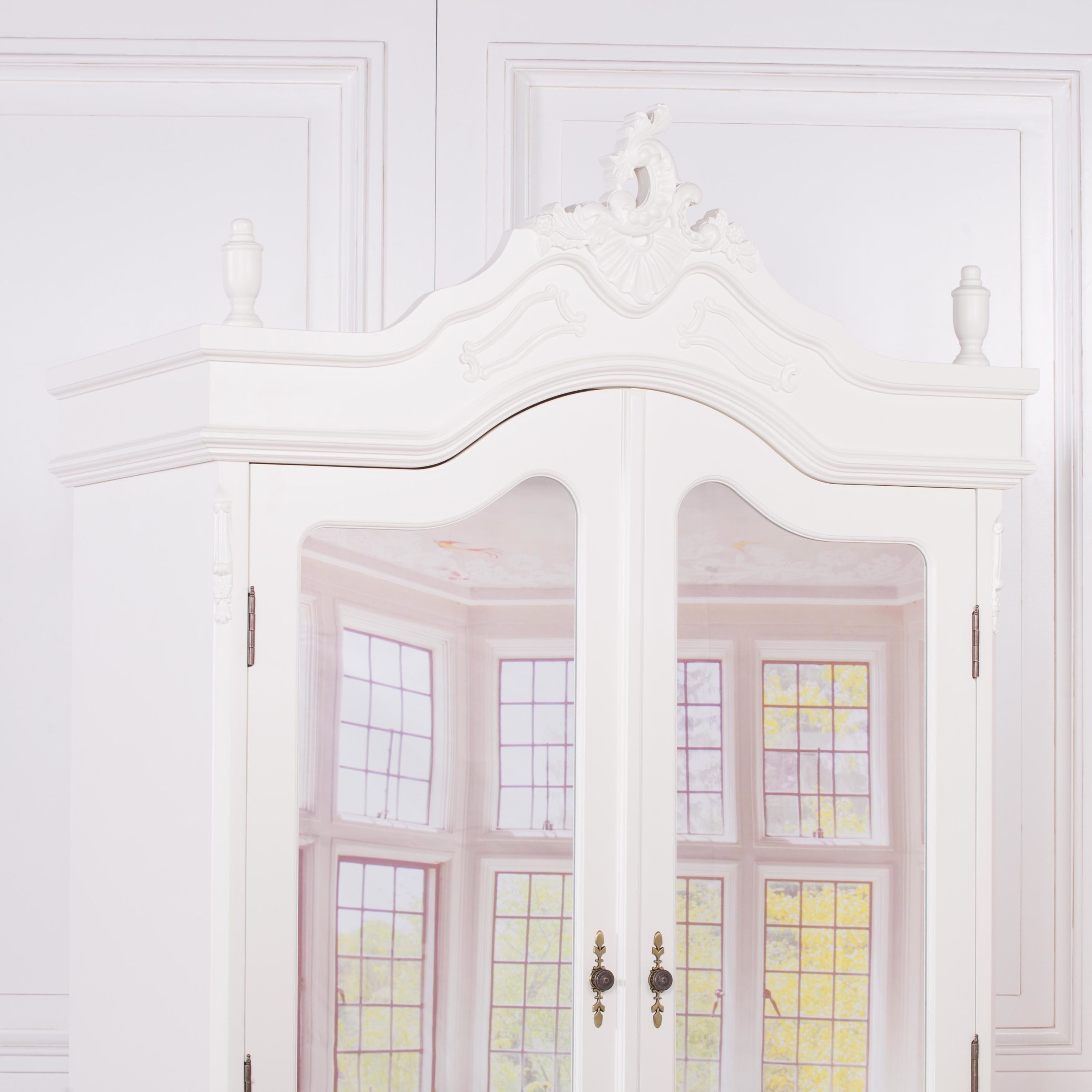 French Cream Double Full Mirrored Armoire