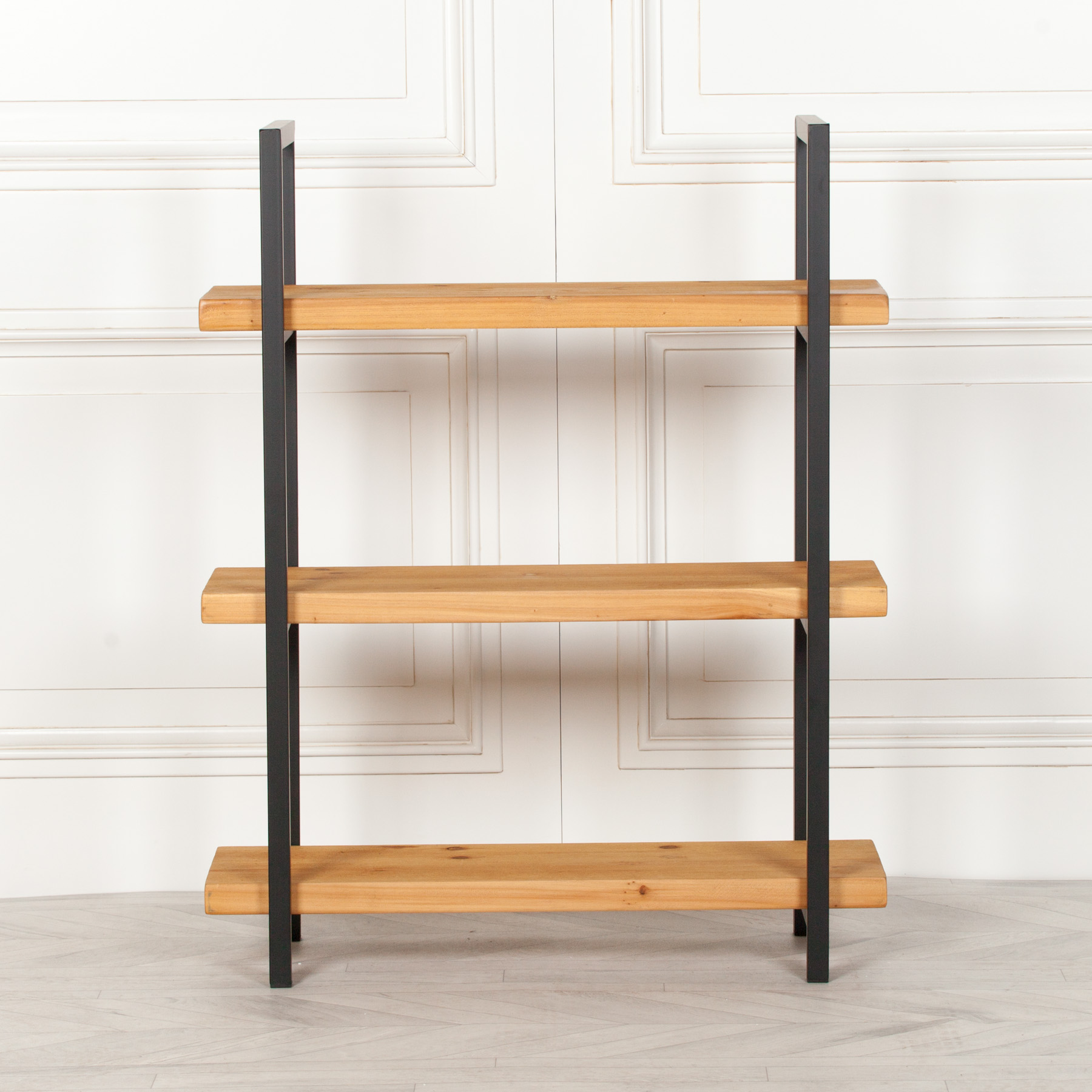 Rustic Wooden Industrial 3 Tier Bookcase Shelving