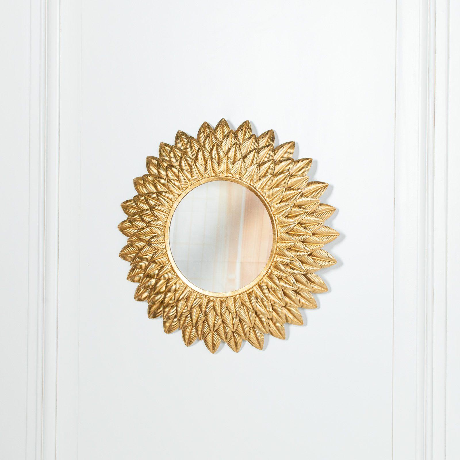 Round 48cm Sunflower Metal Wall Mirror