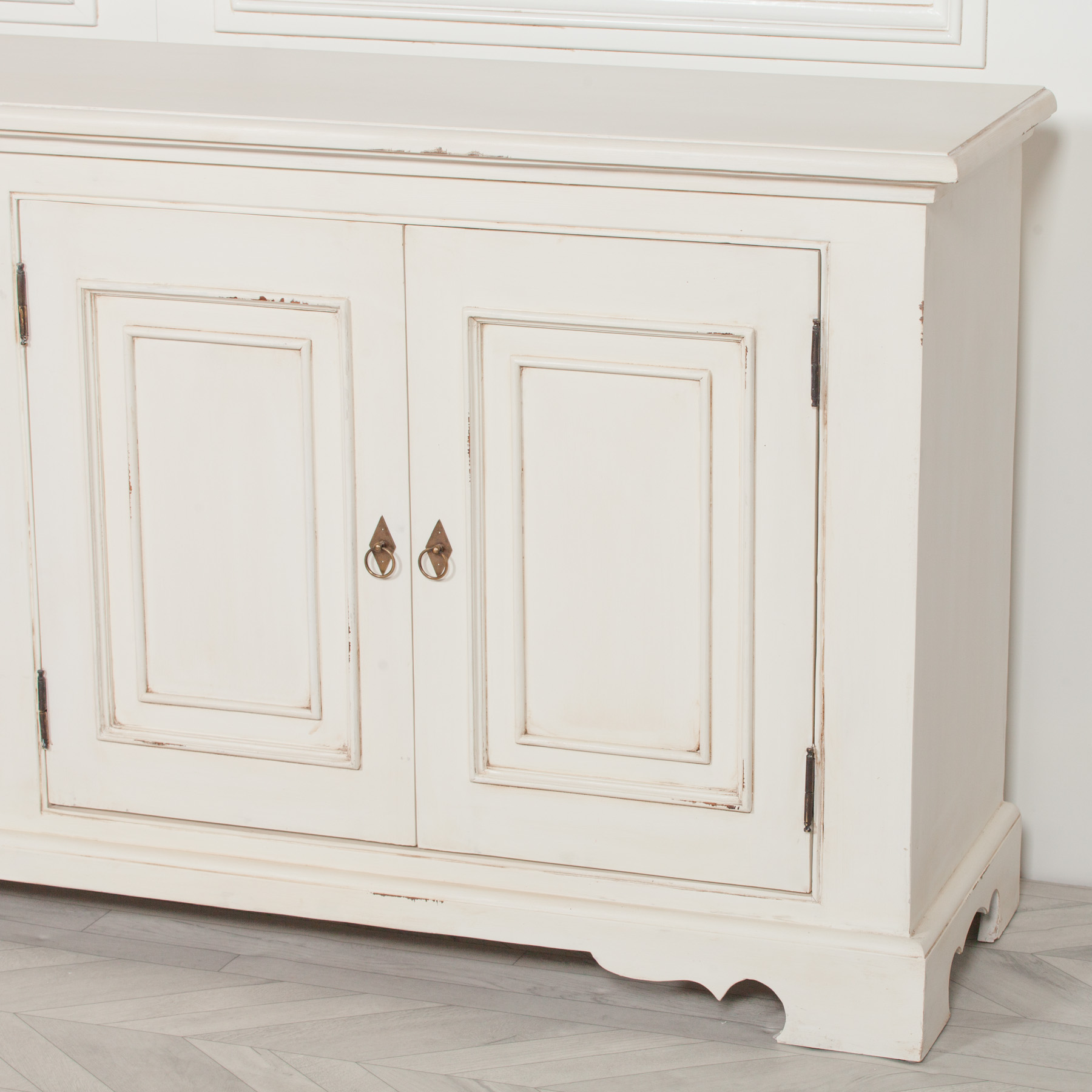 Distressed Aged White Brush Painted Classical Sideboard