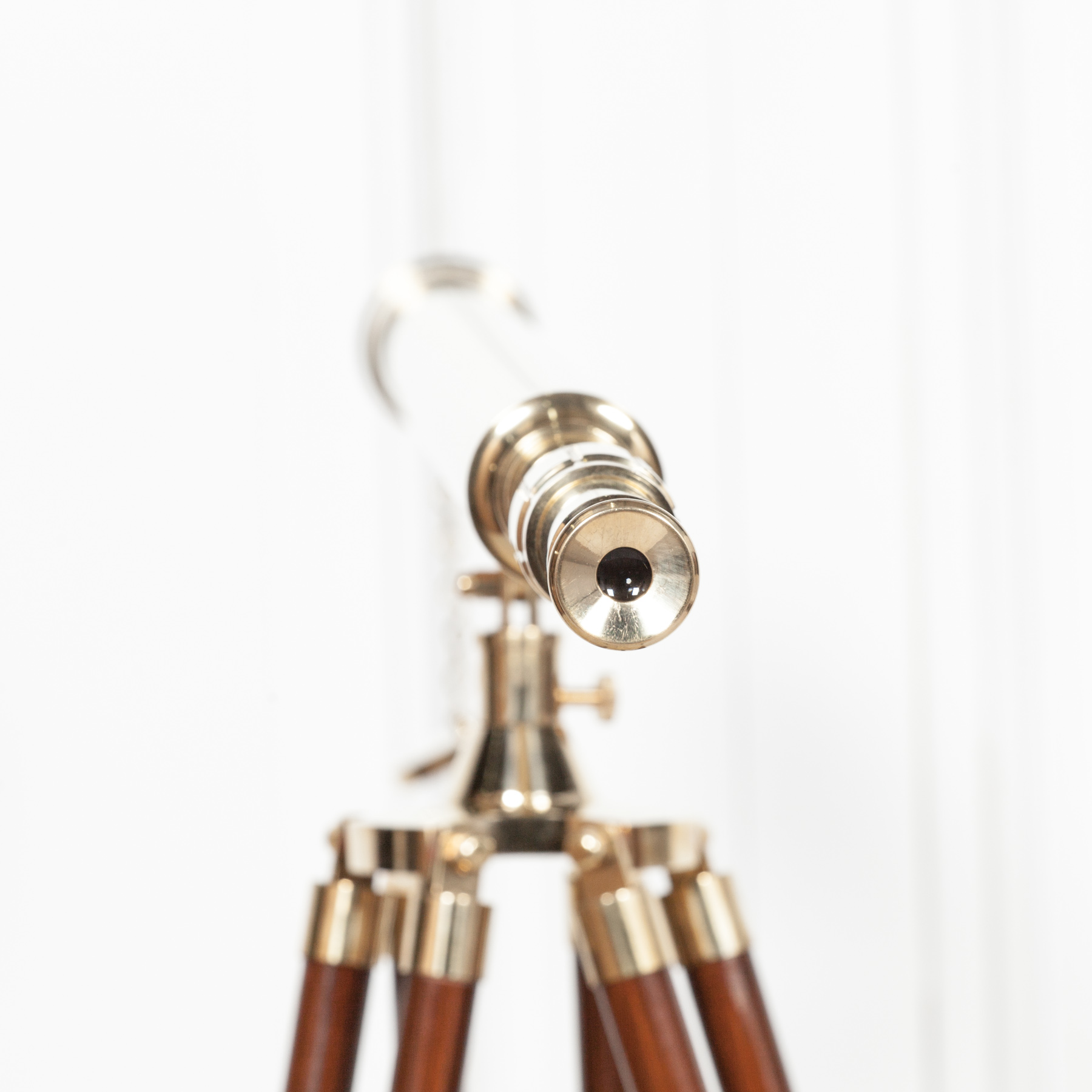 Brass Telescope on Wooden Stand