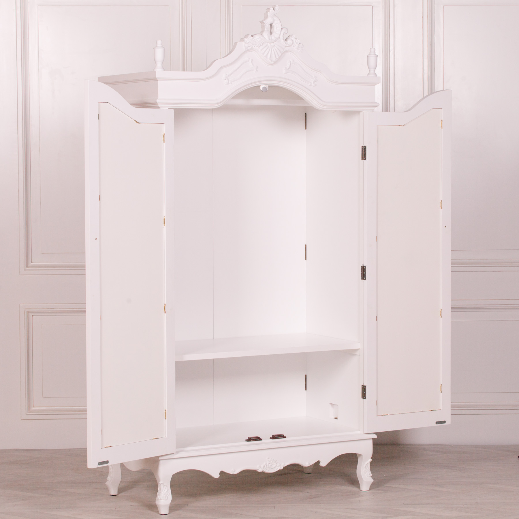 French White Double Mirrored Door Armoire