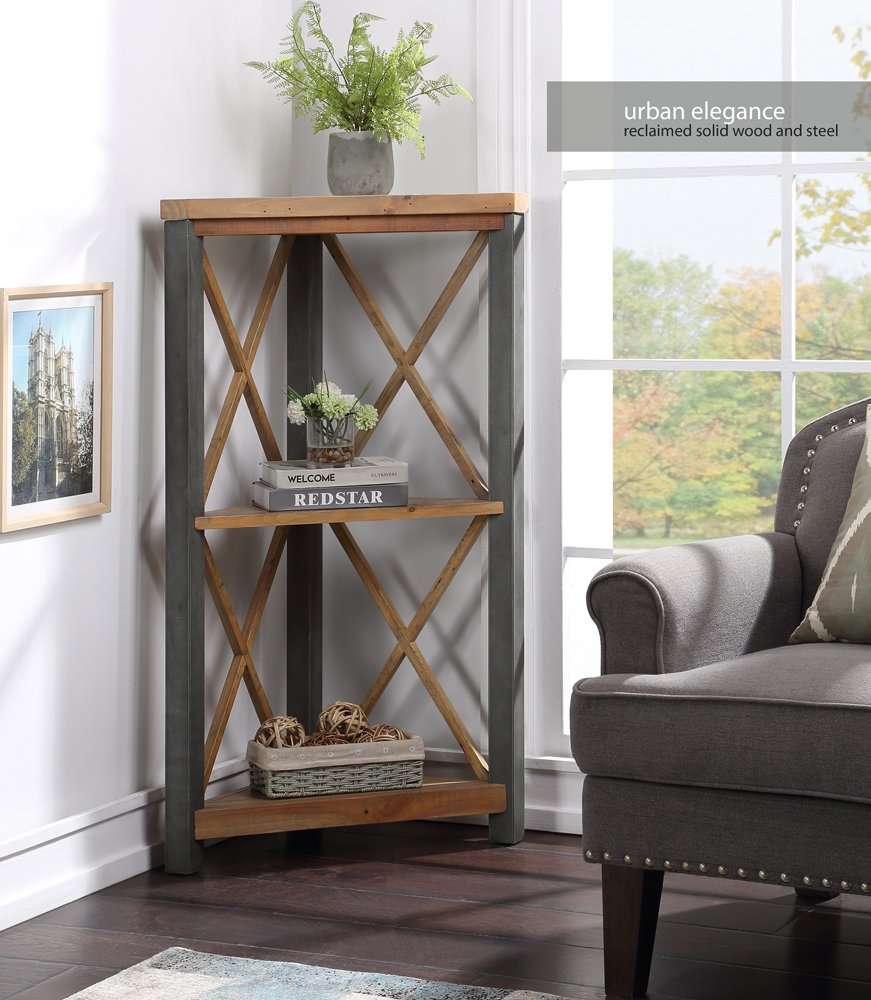 Urban Elegance – Reclaimed Small Corner Bookcase