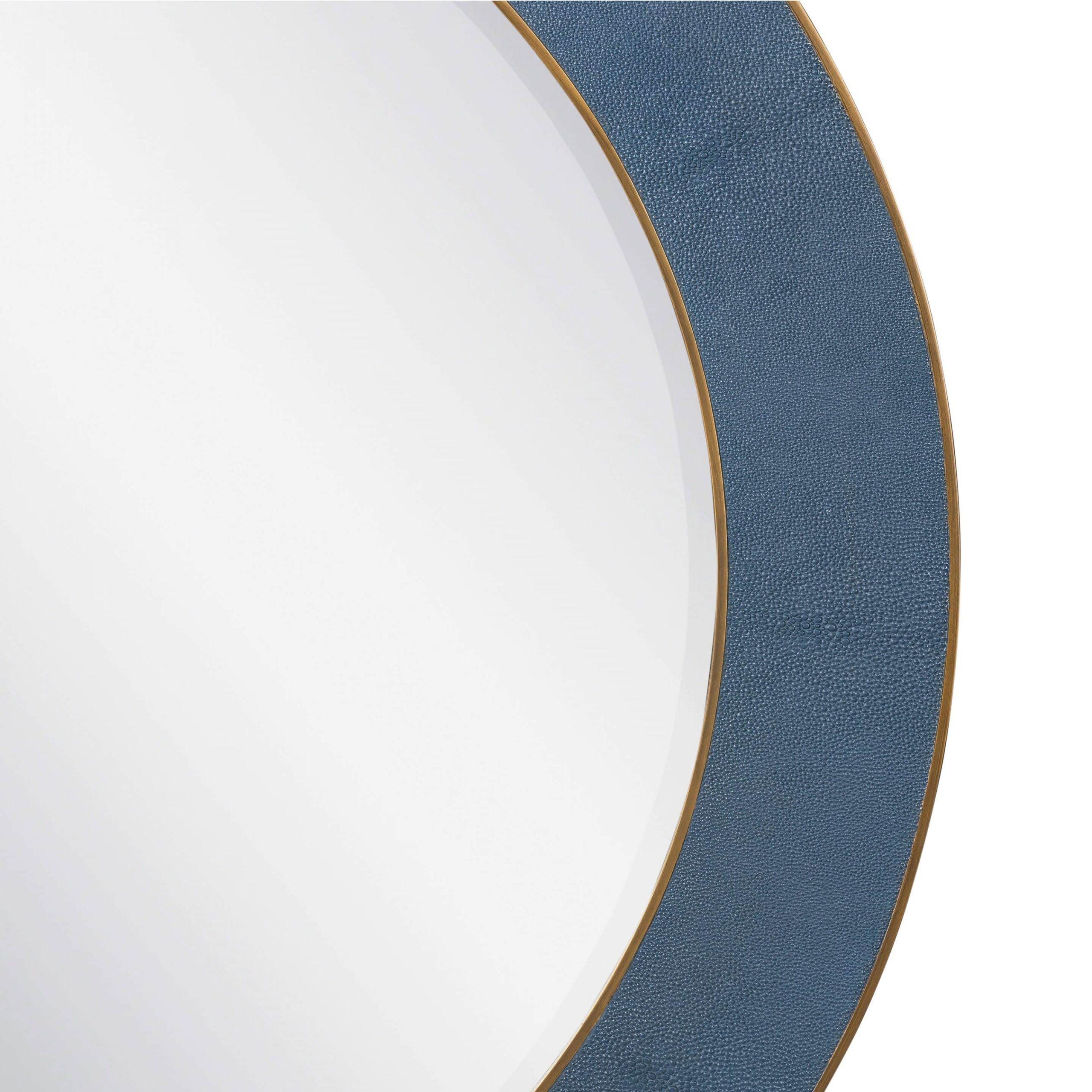 Witley Blue Round Mirror