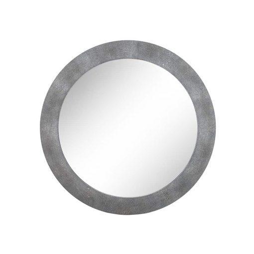 Hascombe Mirror, Round – Grey Shagreen