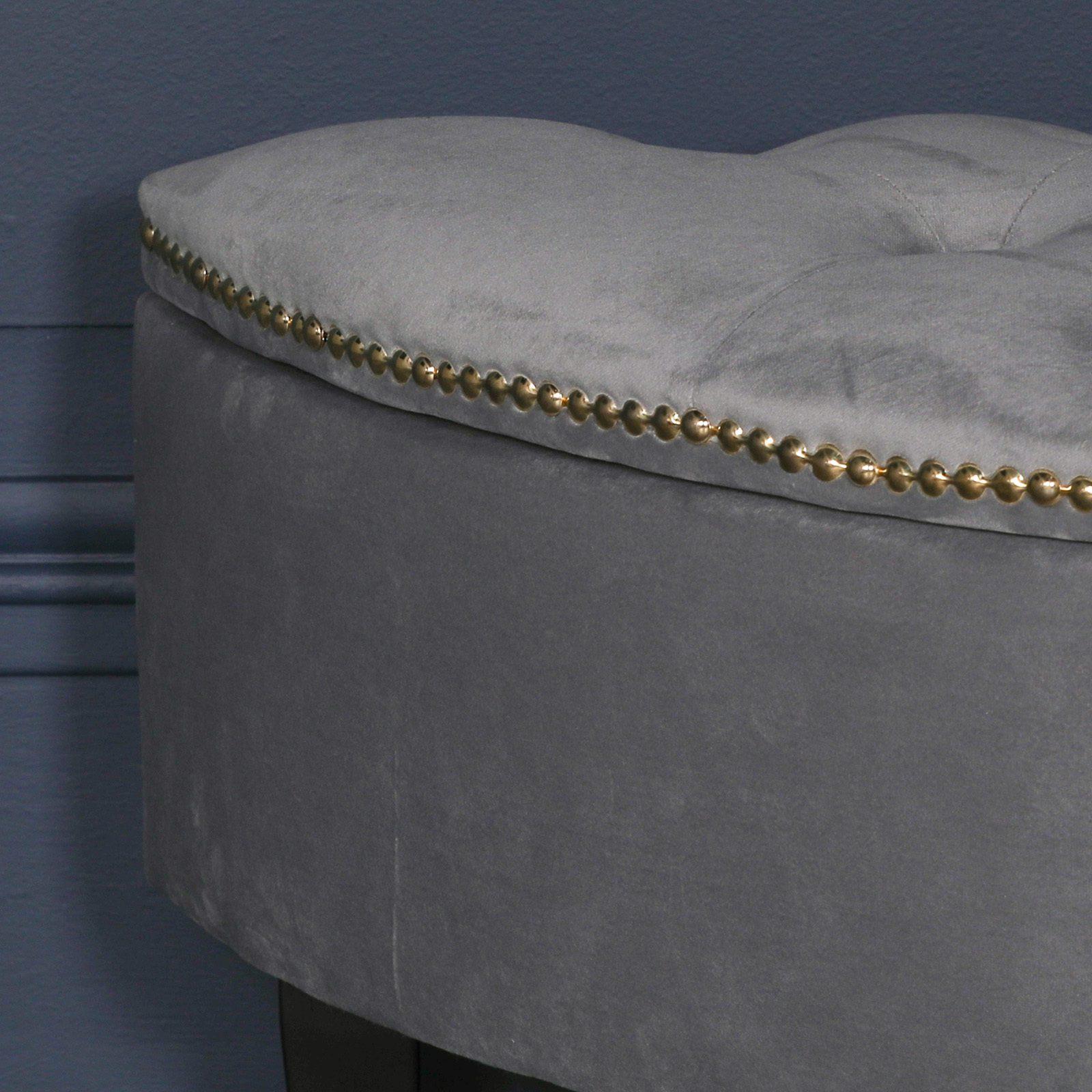 Grey Velvet Storage Pouf Ottoman