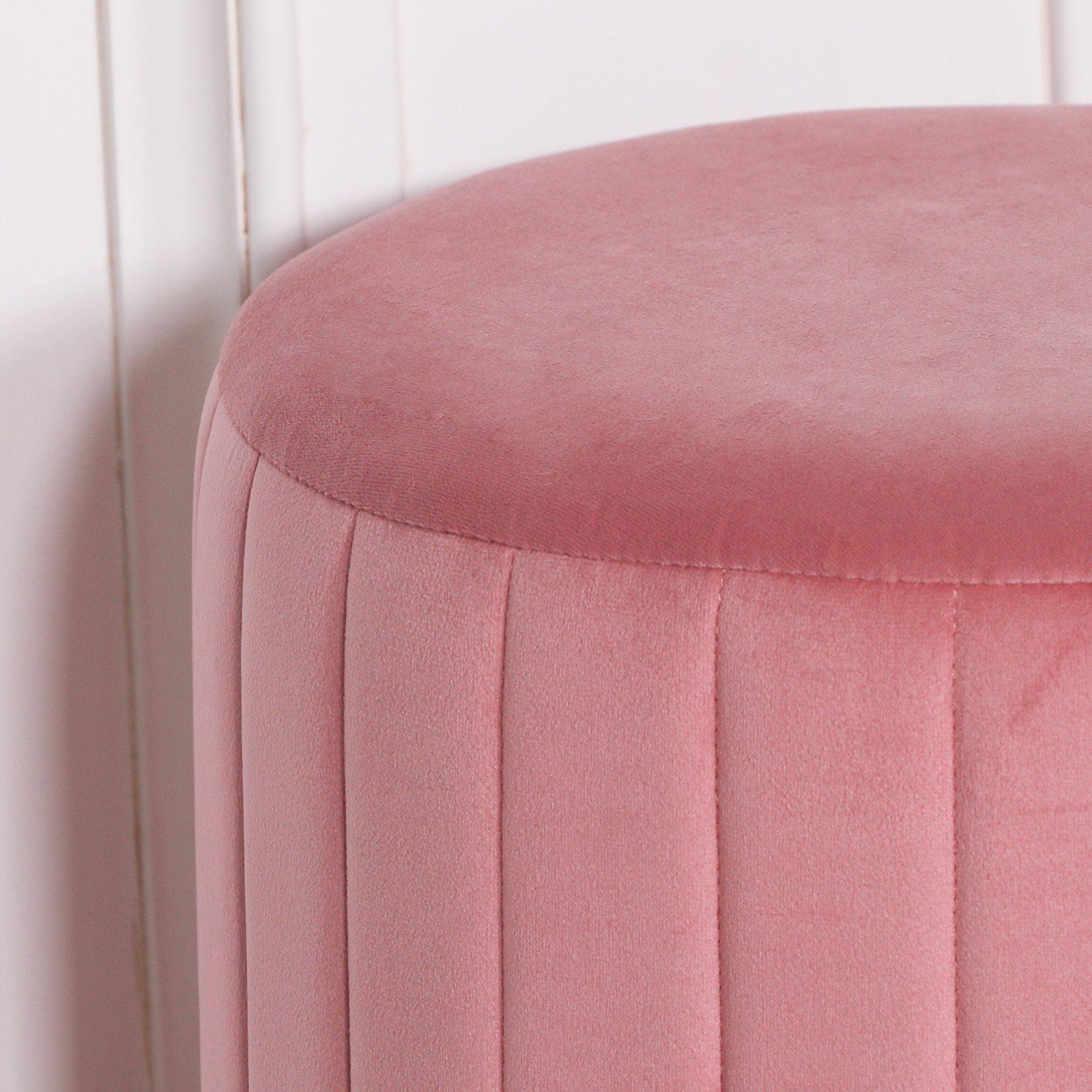 Pink Velvet Round Stool