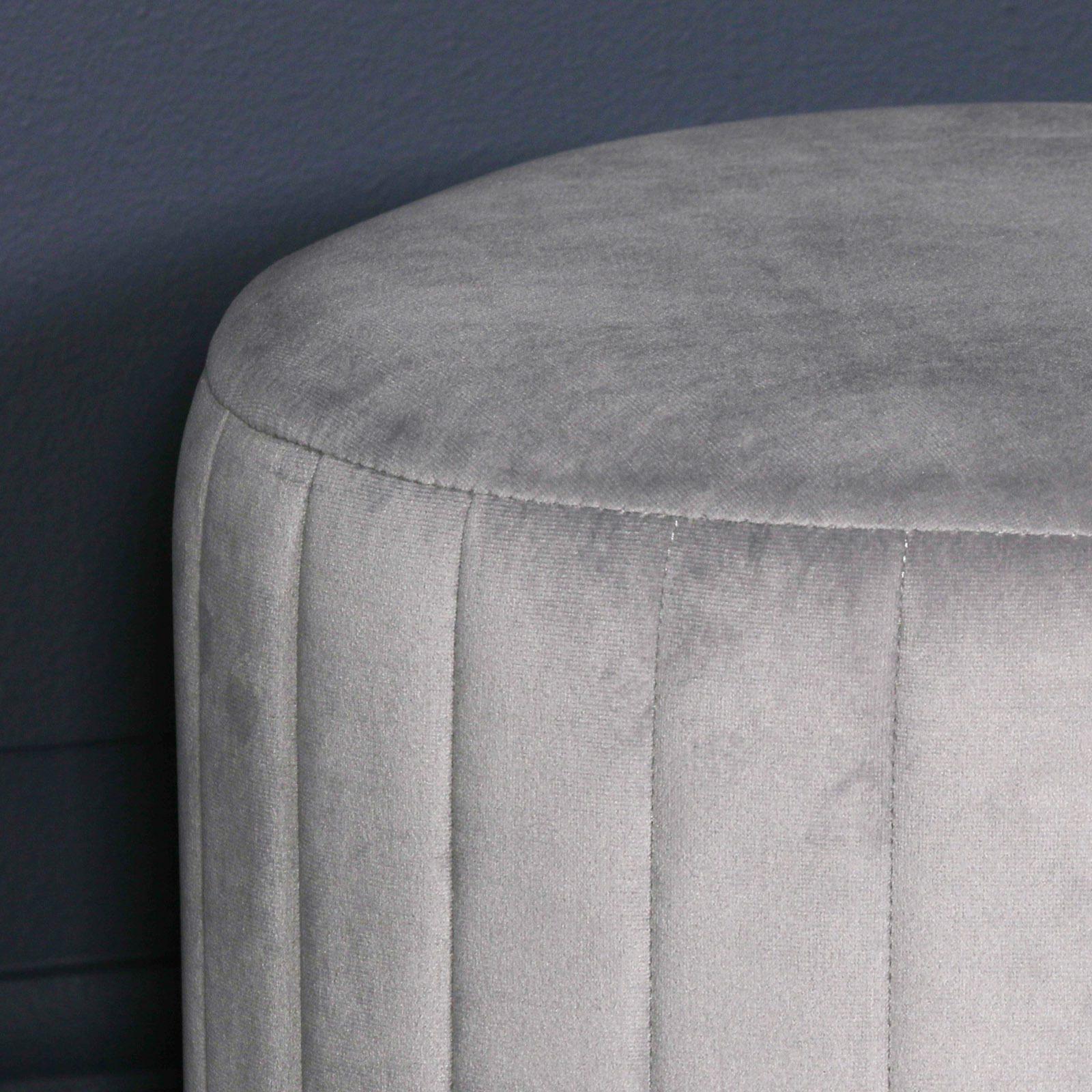 Grey Velvet Round Stool