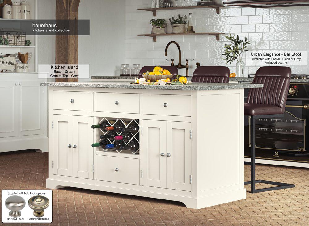 Cream Kitchen Island With Grey Granite Worktop
