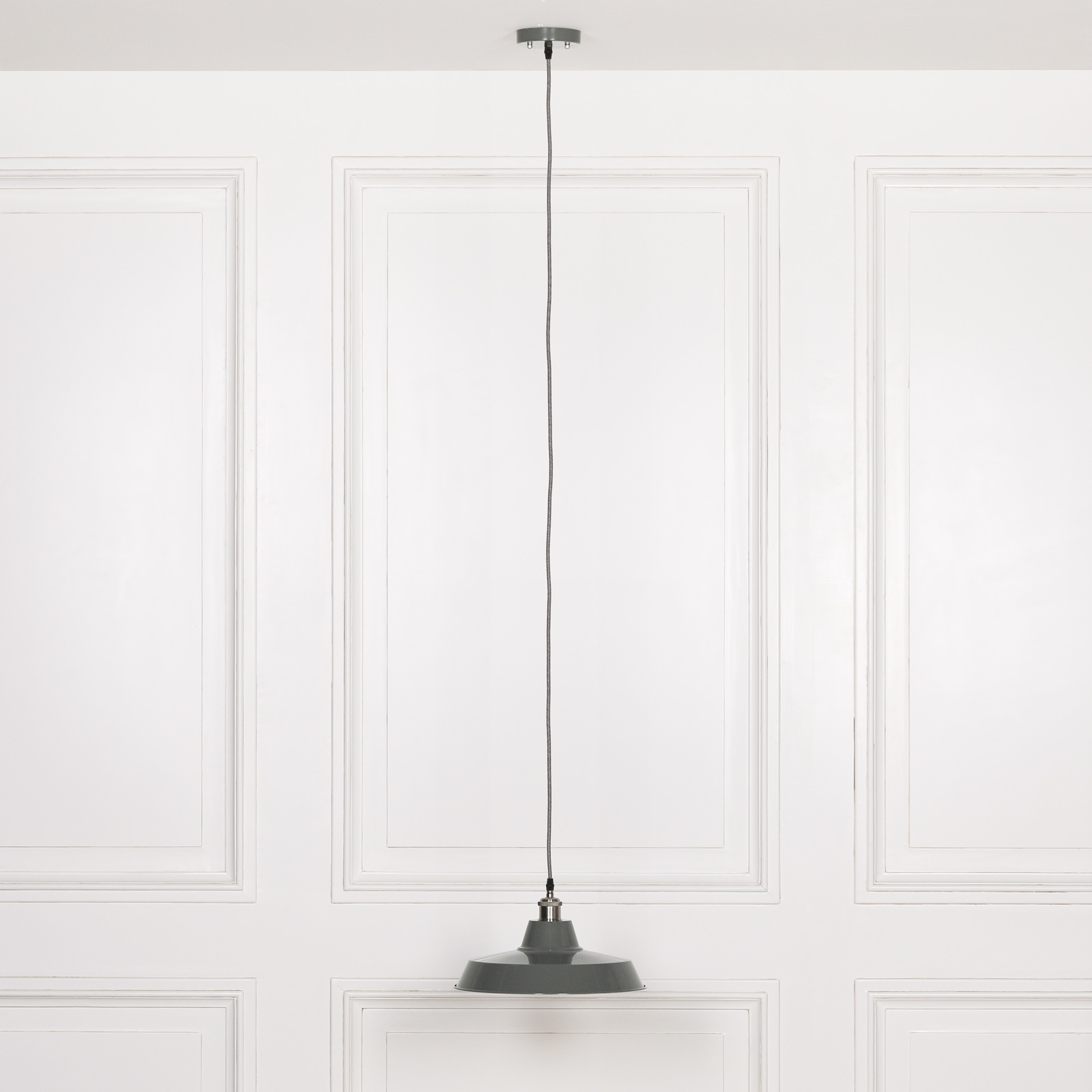 Factory Style Grey Enamel Painted 36cm Pendant Light