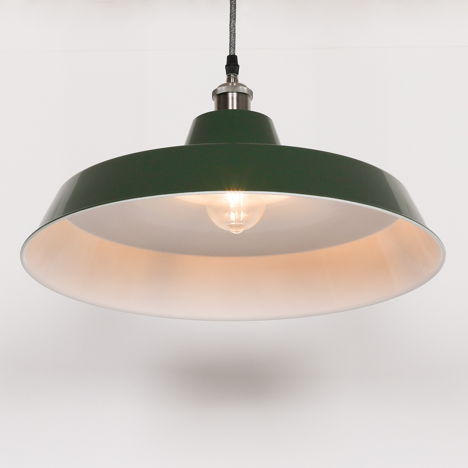 Factory Style British Green Enamel Painted 46cm Pendant Light