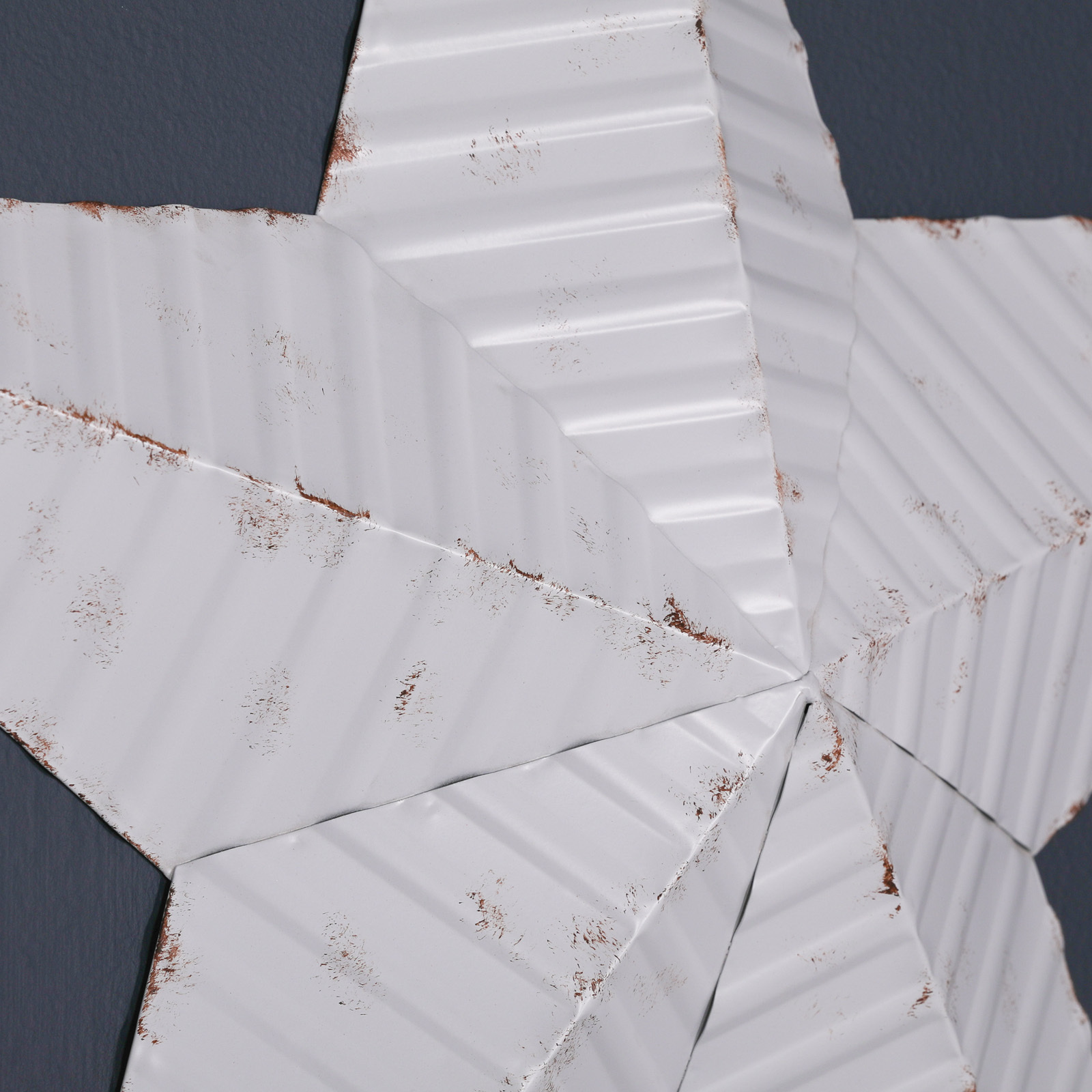 Large 74cm Distressed White Metal Decorative Wall Star