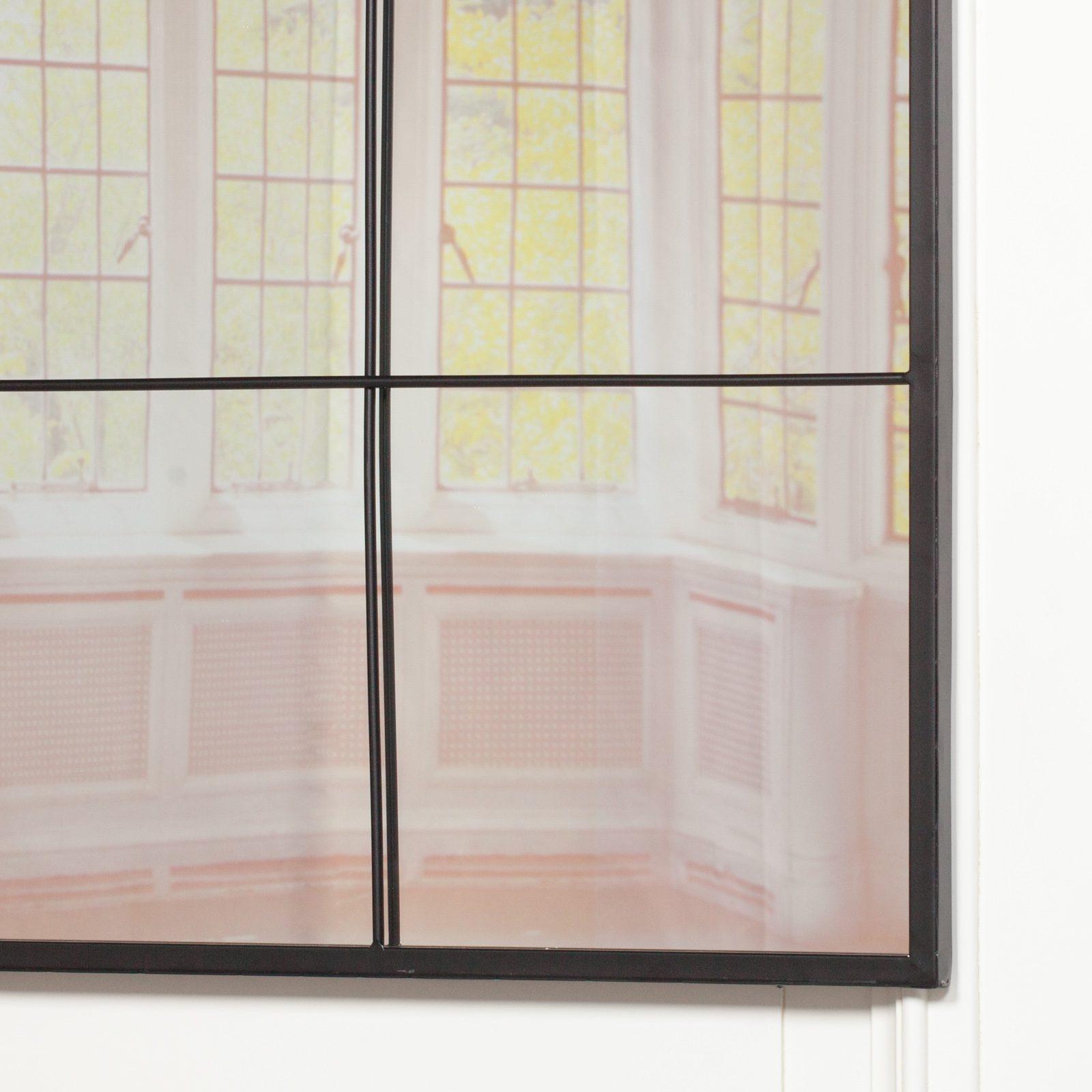Black Metal 90cm Window Mirror